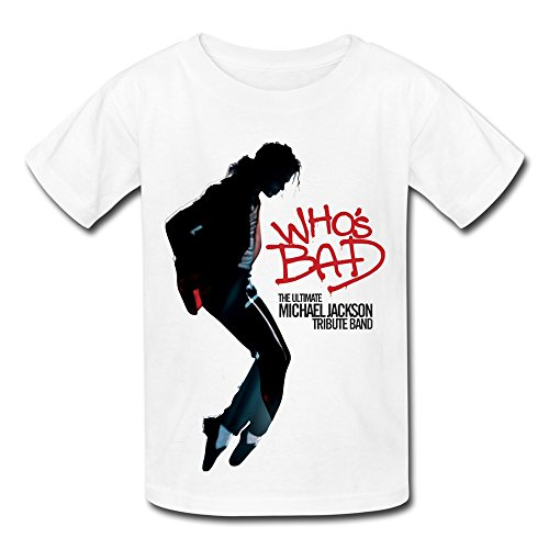 3fc65ab78c5d QM Ultimate Michael Jackson Tribute Band Who s Bad T Shirt For Big  Boys Girls  White S